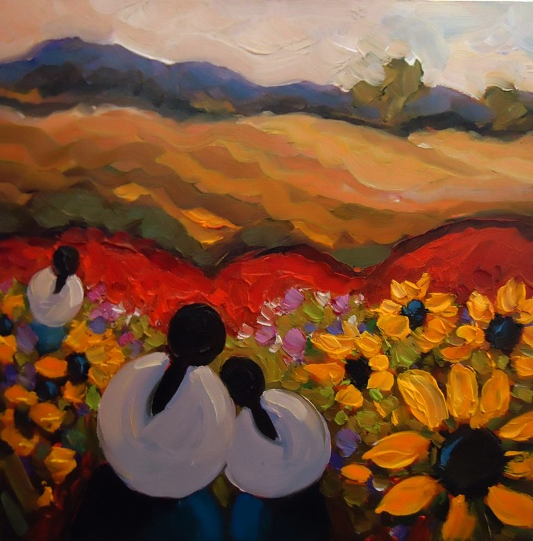 """145 AMONG SUNFLOWERS"" original fine art by Dee Sanchez"