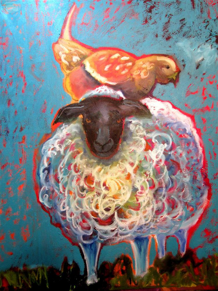 """""""Bemused Sheep With a Chicken On Her Head"""" original fine art by Shelly Penko"""