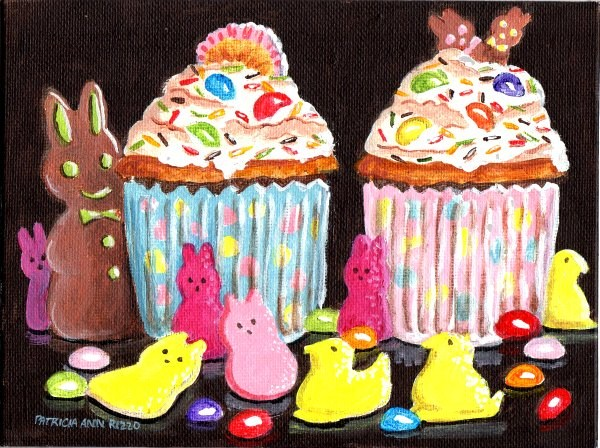 """""""Easter Cupcakes for Two"""" original fine art by Patricia Ann Rizzo"""