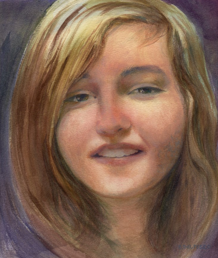 """Watercolor Portrait: Something to Say (& a Ken Auster video)"" original fine art by Belinda Del Pesco"