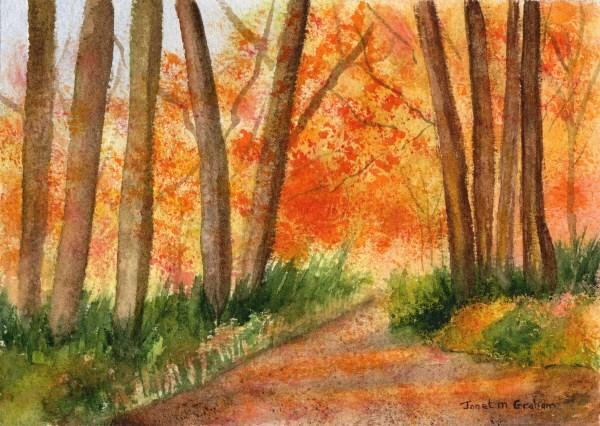 """""""Autumn Walk"""" original fine art by Janet Graham"""