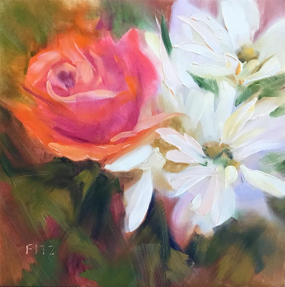 """""""A Rose and Daisies"""" original fine art by Charlotte Fitzgerald"""