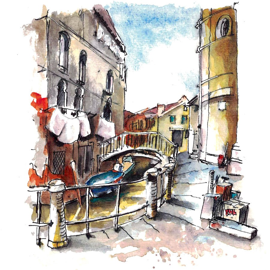 """3174 Venice Sketch"" original fine art by Dietmar Stiller"