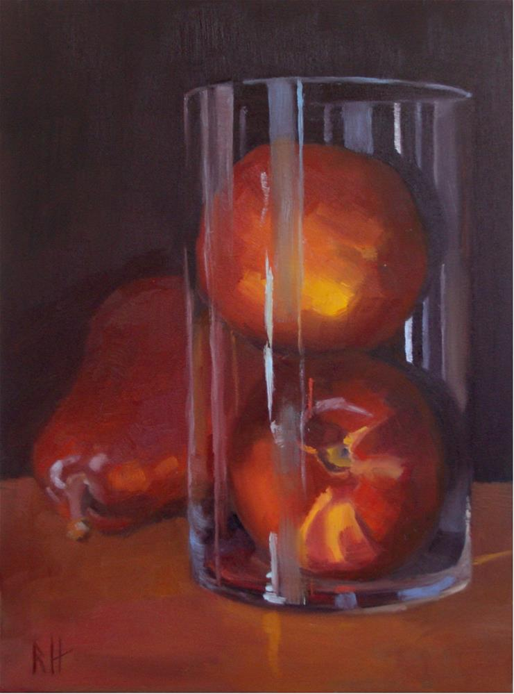 """Nectarines in Glass"" original fine art by Rebecca Helton"