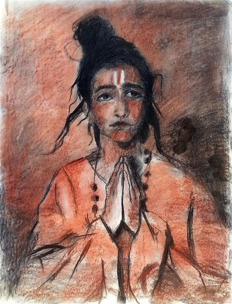 """Hands in Prayer"" original fine art by Nava Judith"