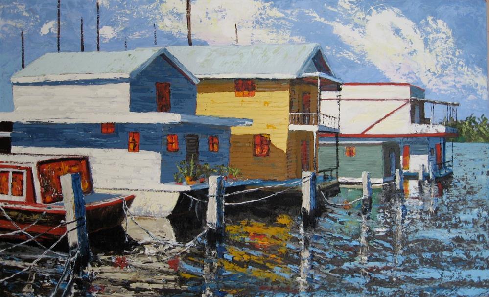 """Houseboats"" original fine art by Darryl Freeman"