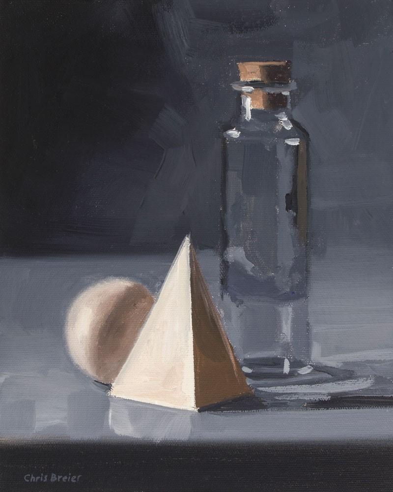 """Bottle With Wood Blocks"" original fine art by Chris Breier"