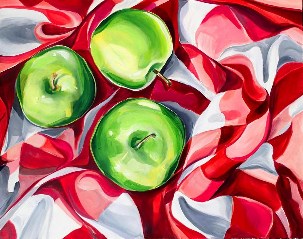 """""""Green Apple Reunion"""" original fine art by Lauren Kuhn"""