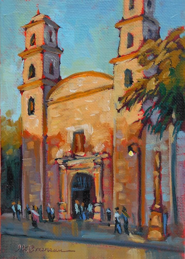 """""""Church in Centro, Merida"""" original fine art by Jeanne Bruneau"""