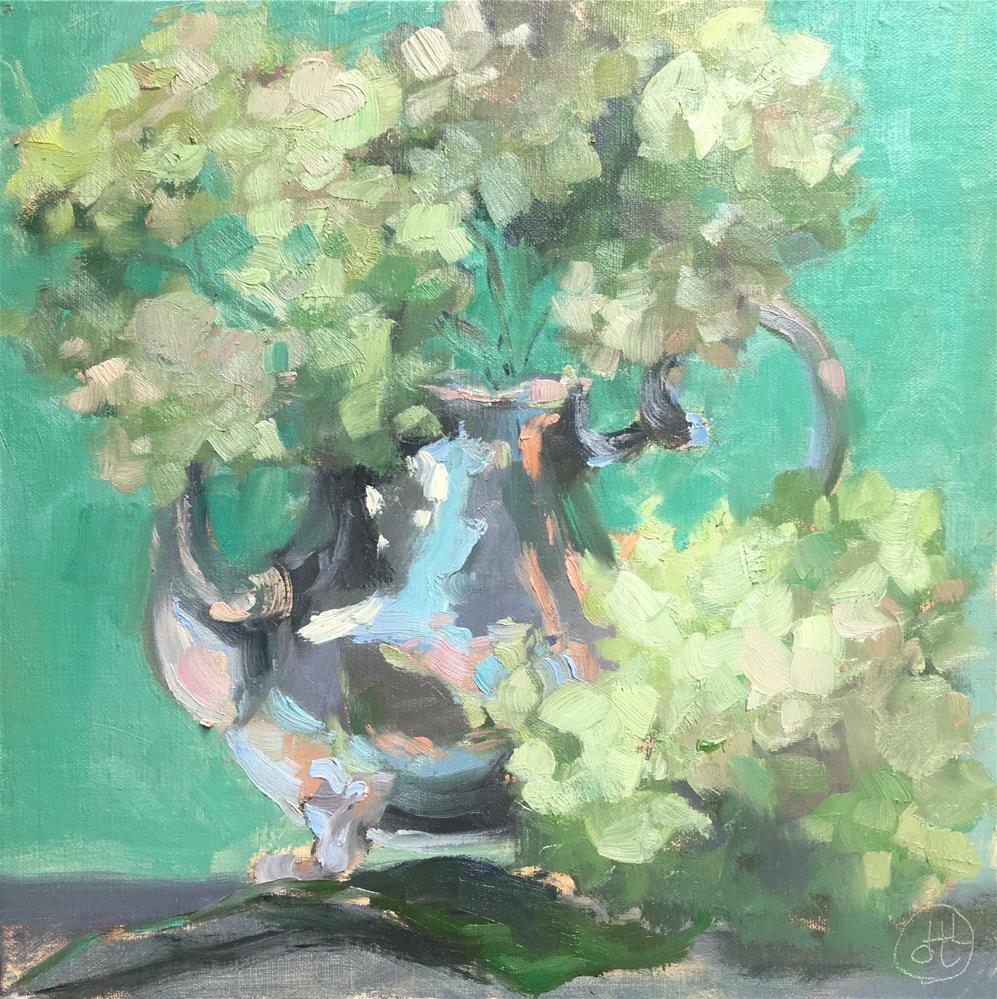 """autumn hydrangeas"" original fine art by Dottie  T  Leatherwood"