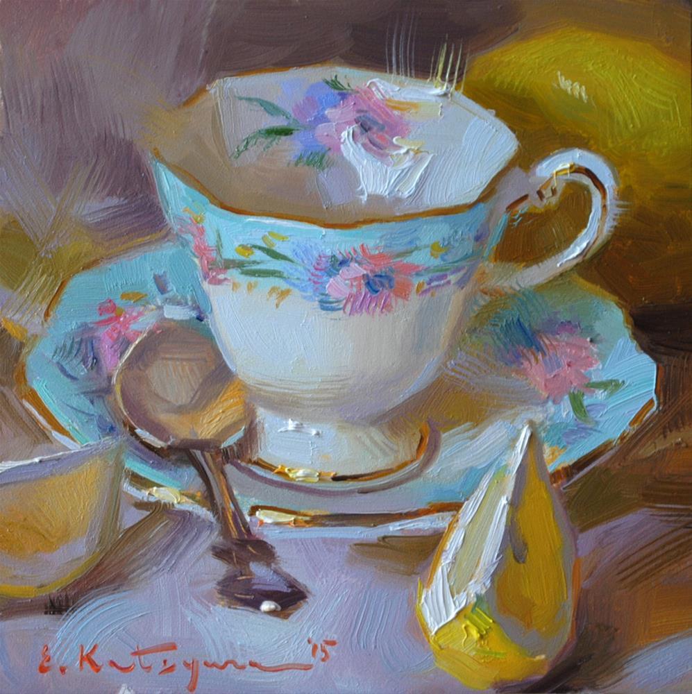 """Light Blue and Yellow"" original fine art by Elena Katsyura"