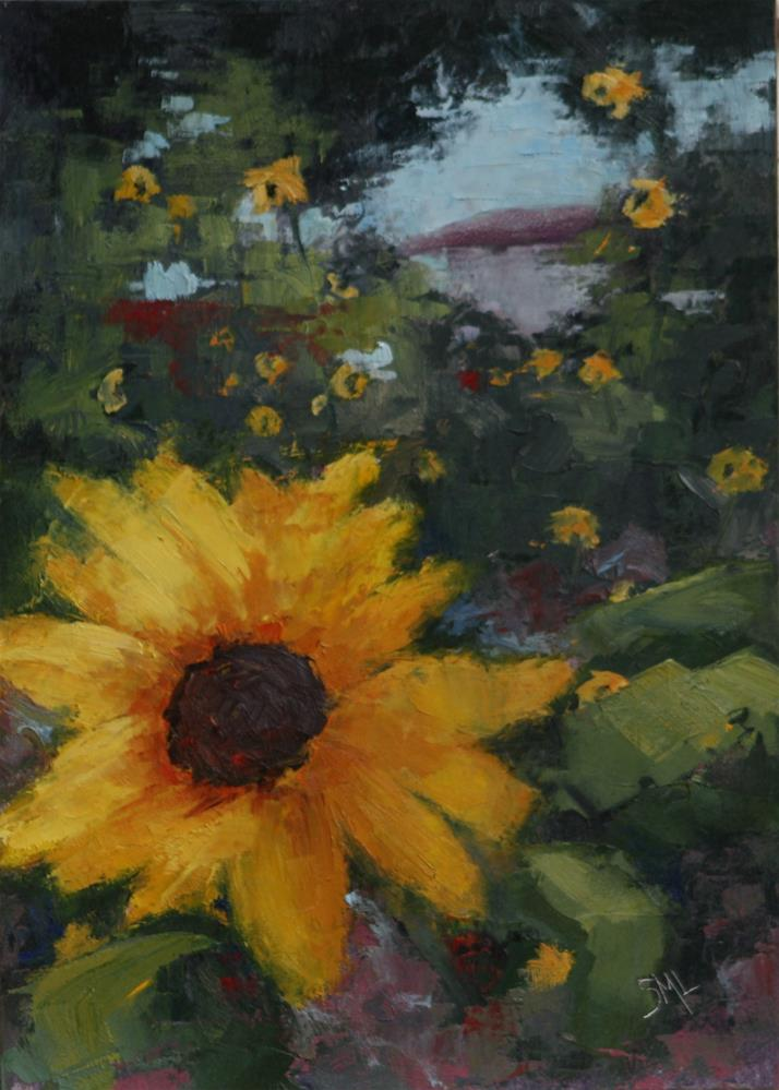 """Pop Goes the Sunflower"" original fine art by Sheila Marie"