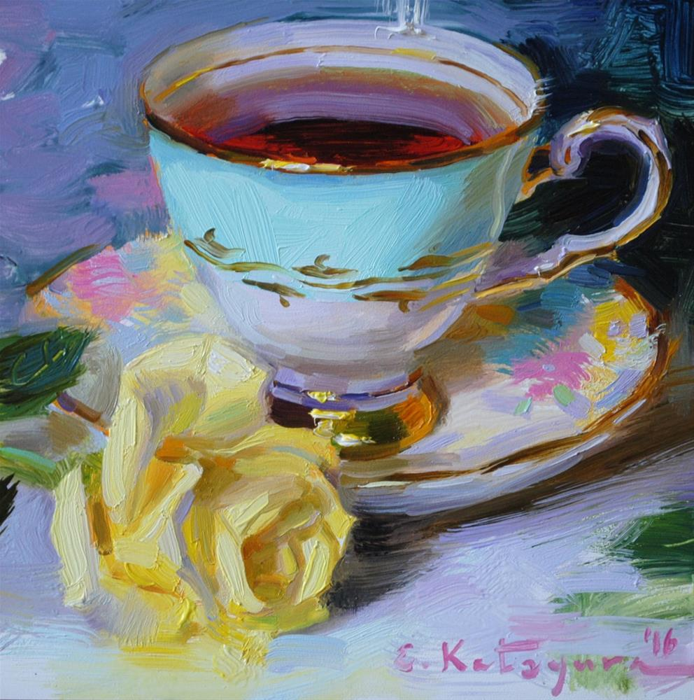 """Teacup and Yellow Rose"" original fine art by Elena Katsyura"