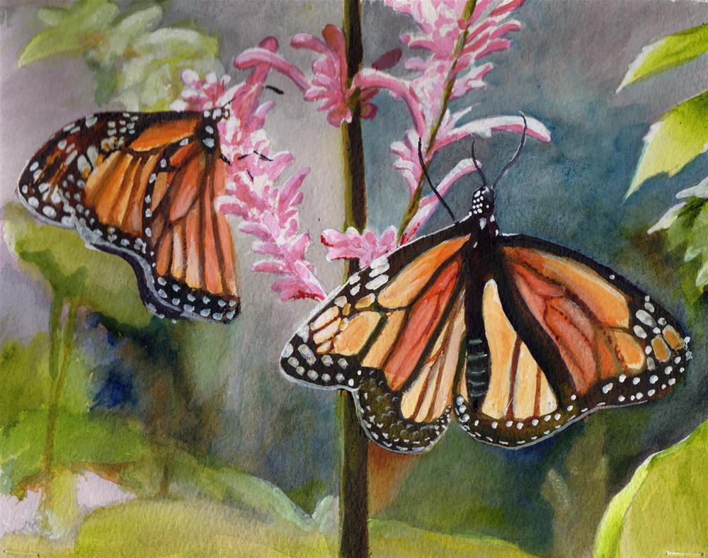 """Monarch Butterflies"" original fine art by Bunny Griffeth"