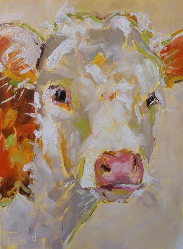 """""""Cow 70 Solid 2"""" original fine art by Jean Delaney"""
