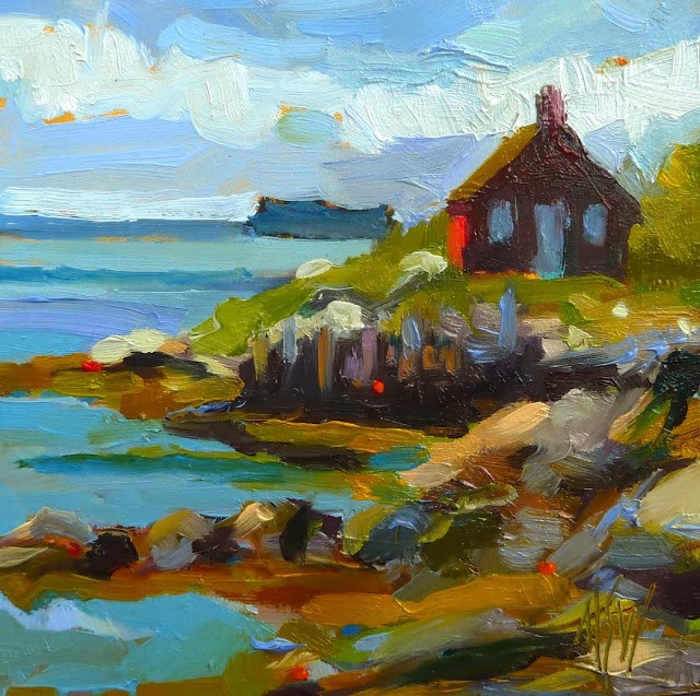 """""""Maine Fish House 4x4 oil on gesso board. Inspired by a visit to coastal Maine. I just love it there!!"""" original fine art by Mary Sheehan Winn"""