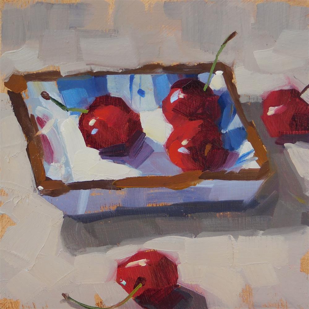 """""""In-N-Out Cherries"""" original fine art by Karen Werner"""
