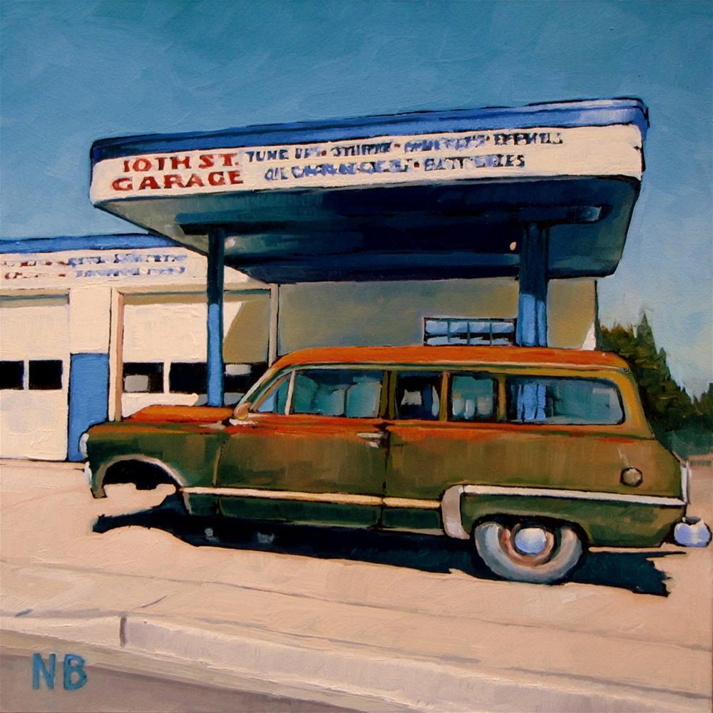 """""""10th St. Garage"""" original fine art by Nora Bergman"""
