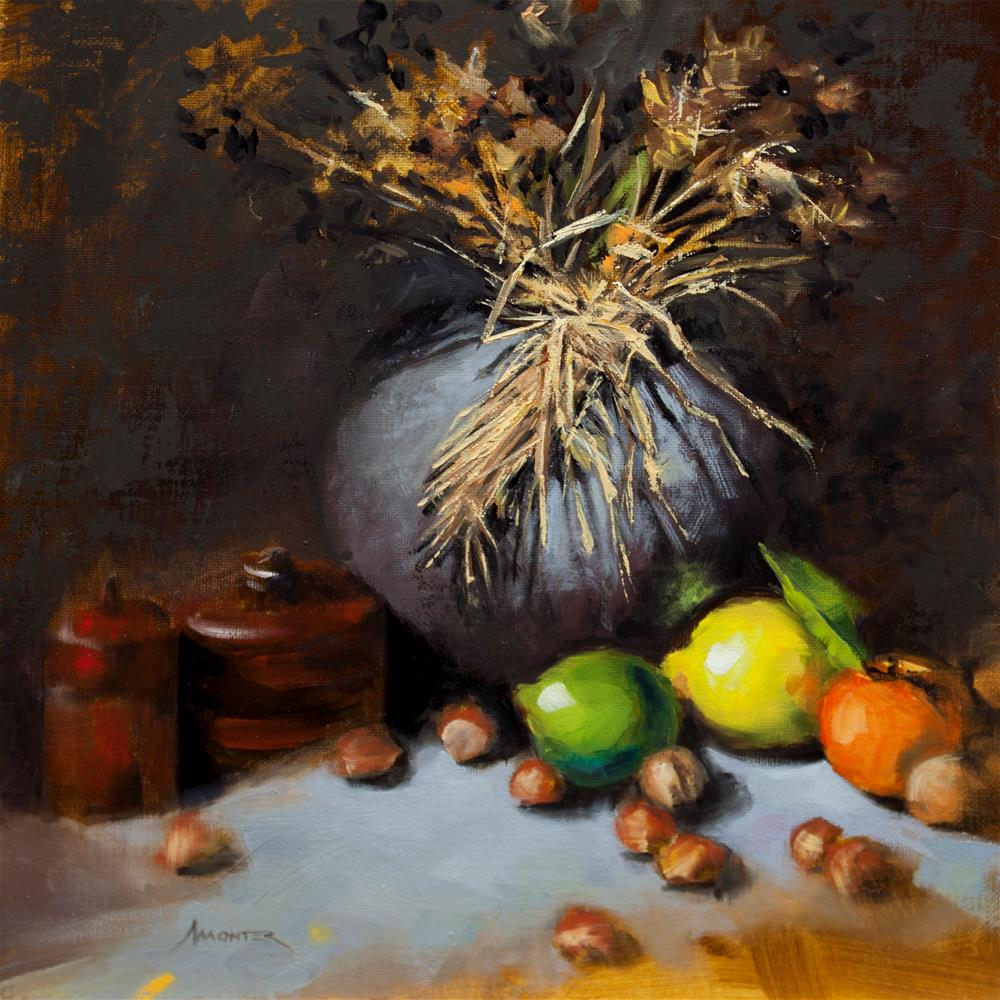 """""""Grey vase, morrocan boxes and fruits"""" original fine art by Thierry Monter"""