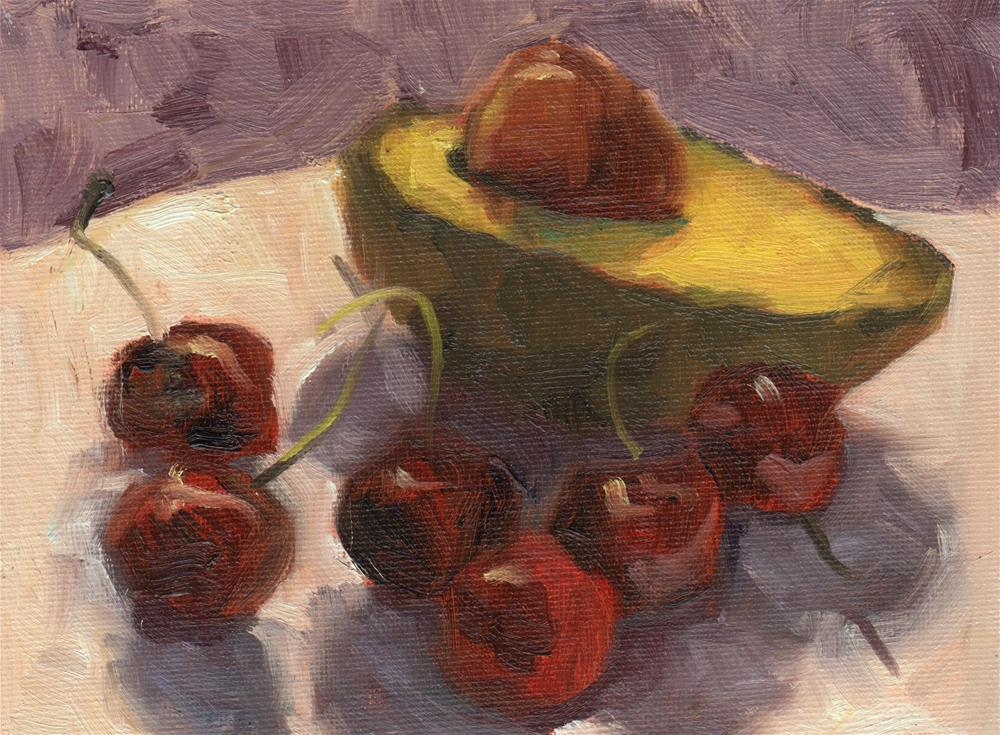 """Avocado & Cherries"" original fine art by Marlene Lee"