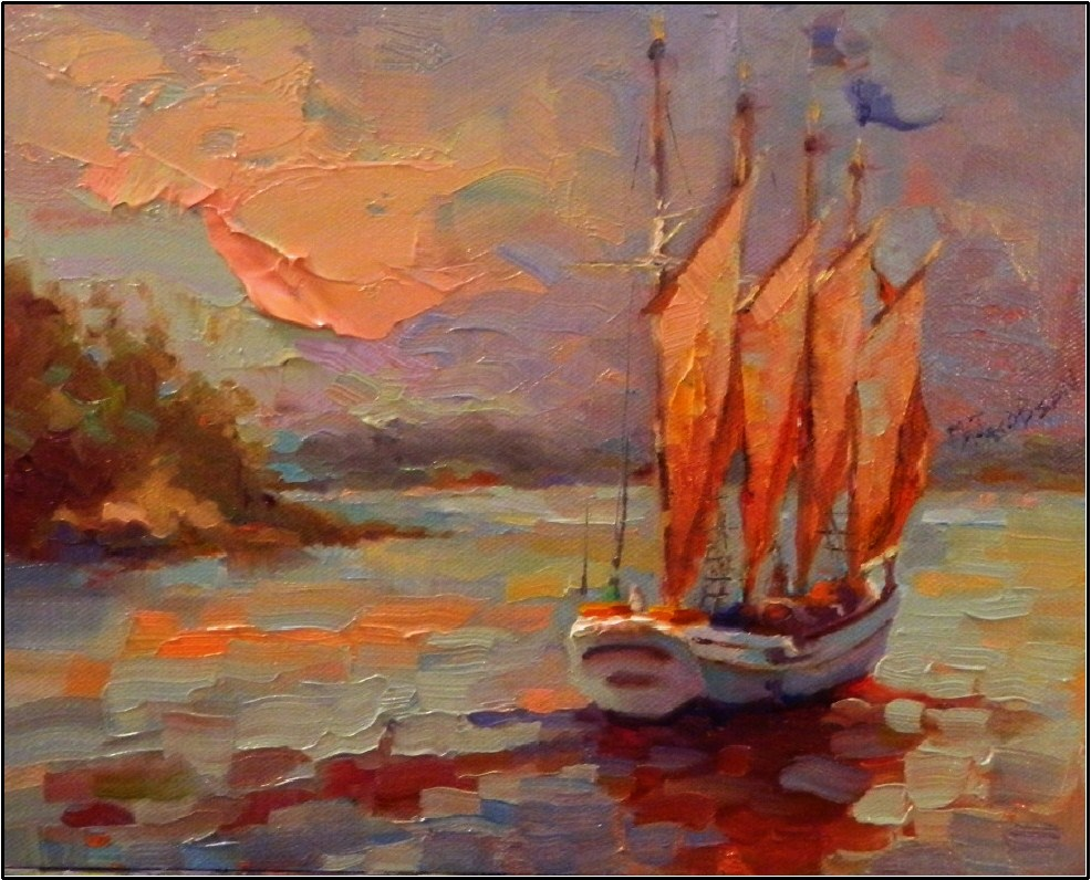 """Catch the Wind 8x10, oil on Raymar panel, Maryanne Jacobsen paintings, paintings of Maine, harbor,"" original fine art by Maryanne Jacobsen"