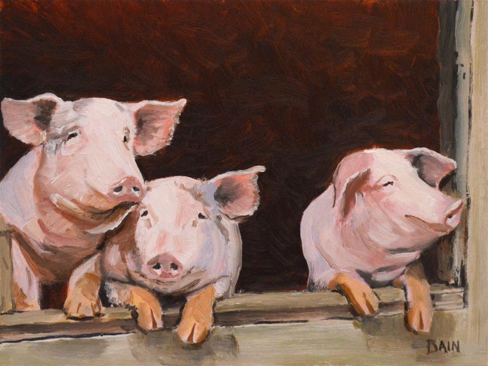 """""""Little Pigs"""" original fine art by Peter Bain"""