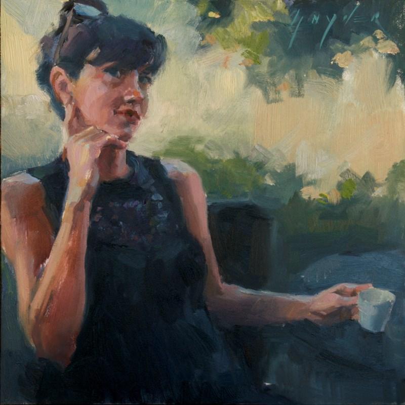 """Thirty paintings in 30 Days #2 Last Café Grand Crème"" original fine art by Julie Snyder"