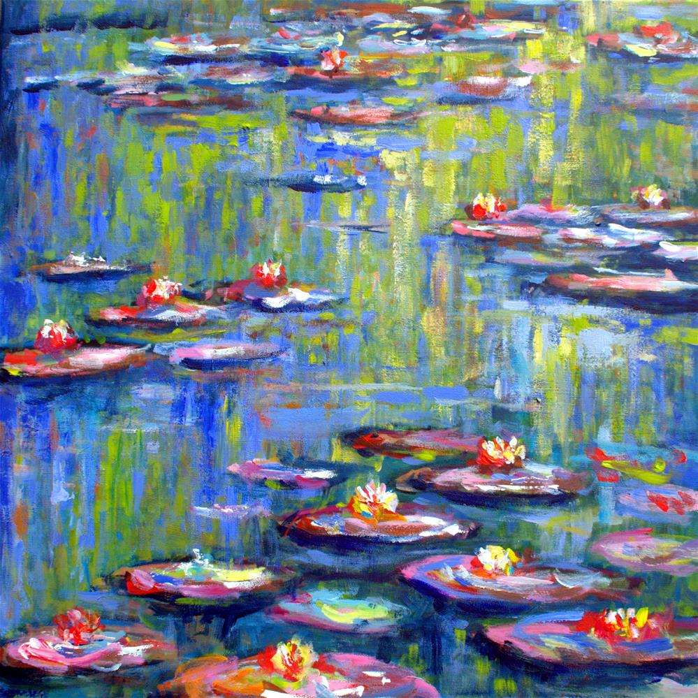 """Waterlilies in Monet's garden"" original fine art by Wim Van De Wege"