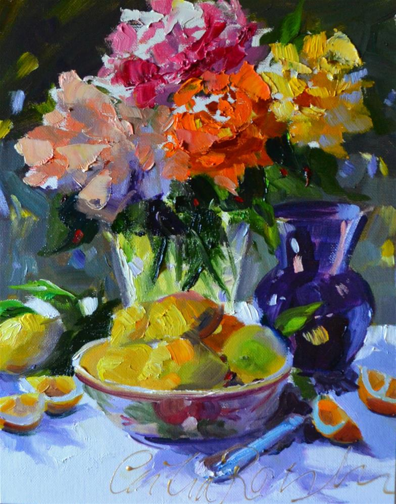 """""""LEMONS AND ROSES"""" original fine art by Cecilia Rosslee"""
