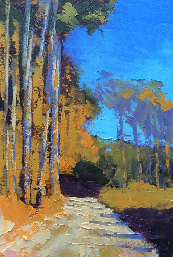 """""""Tall Pines, Winter"""" original fine art by Mary Gilkerson"""