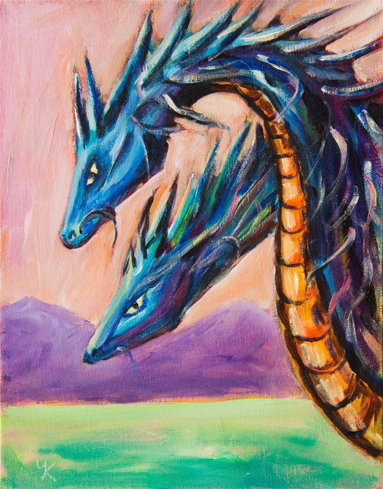 """Blue Dragons fantasy"" original fine art by Yulia Kazansky"
