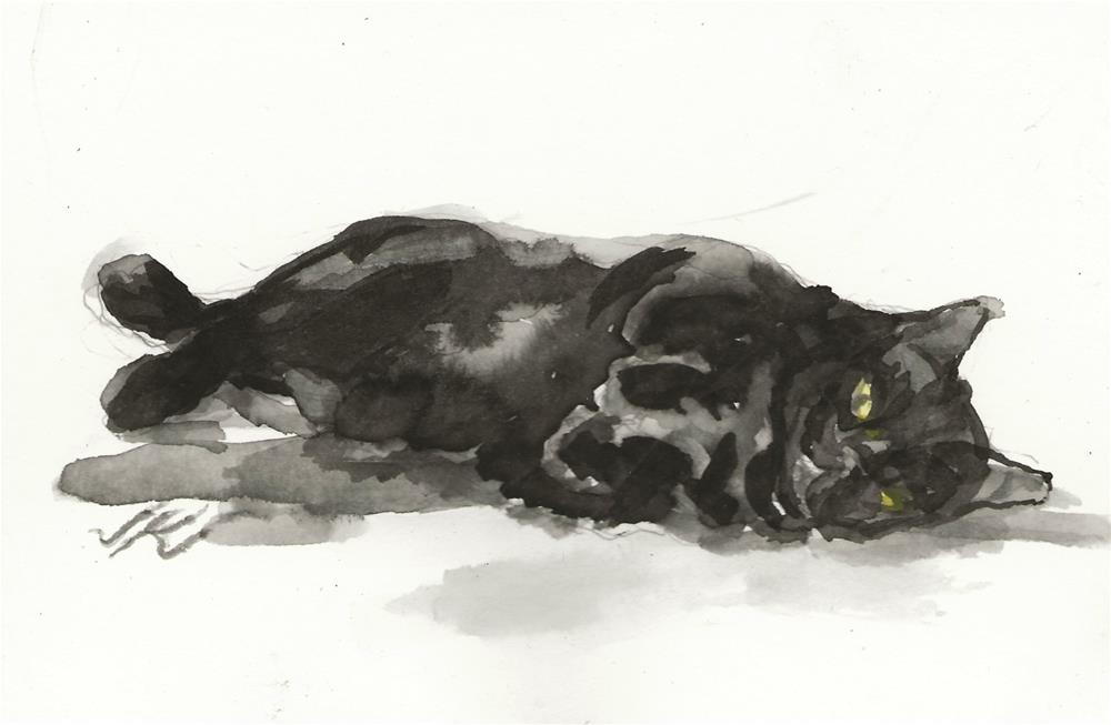 """Daily Cat 153"" original fine art by Jean Krueger"
