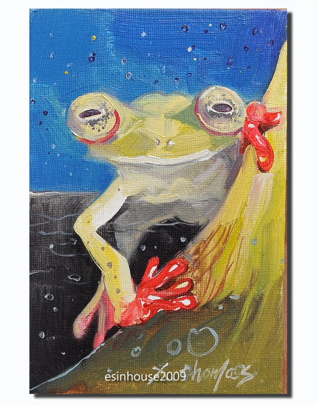 """frog"" original fine art by Thomas Xie"