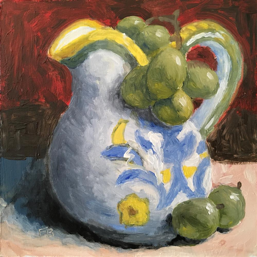 """233 Grapes and pitcher"" original fine art by Fred Bell"