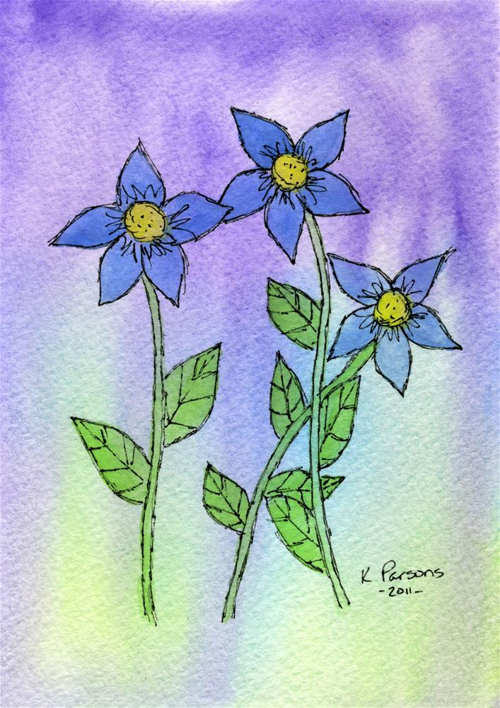 """Blue Trio"" original fine art by Kali Parsons"