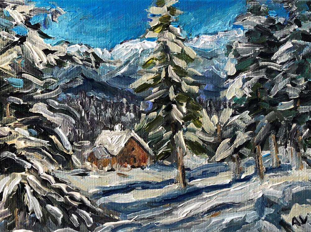 """Cottage in Snow 40%off, now $51!"" original fine art by Alina Vidulescu"