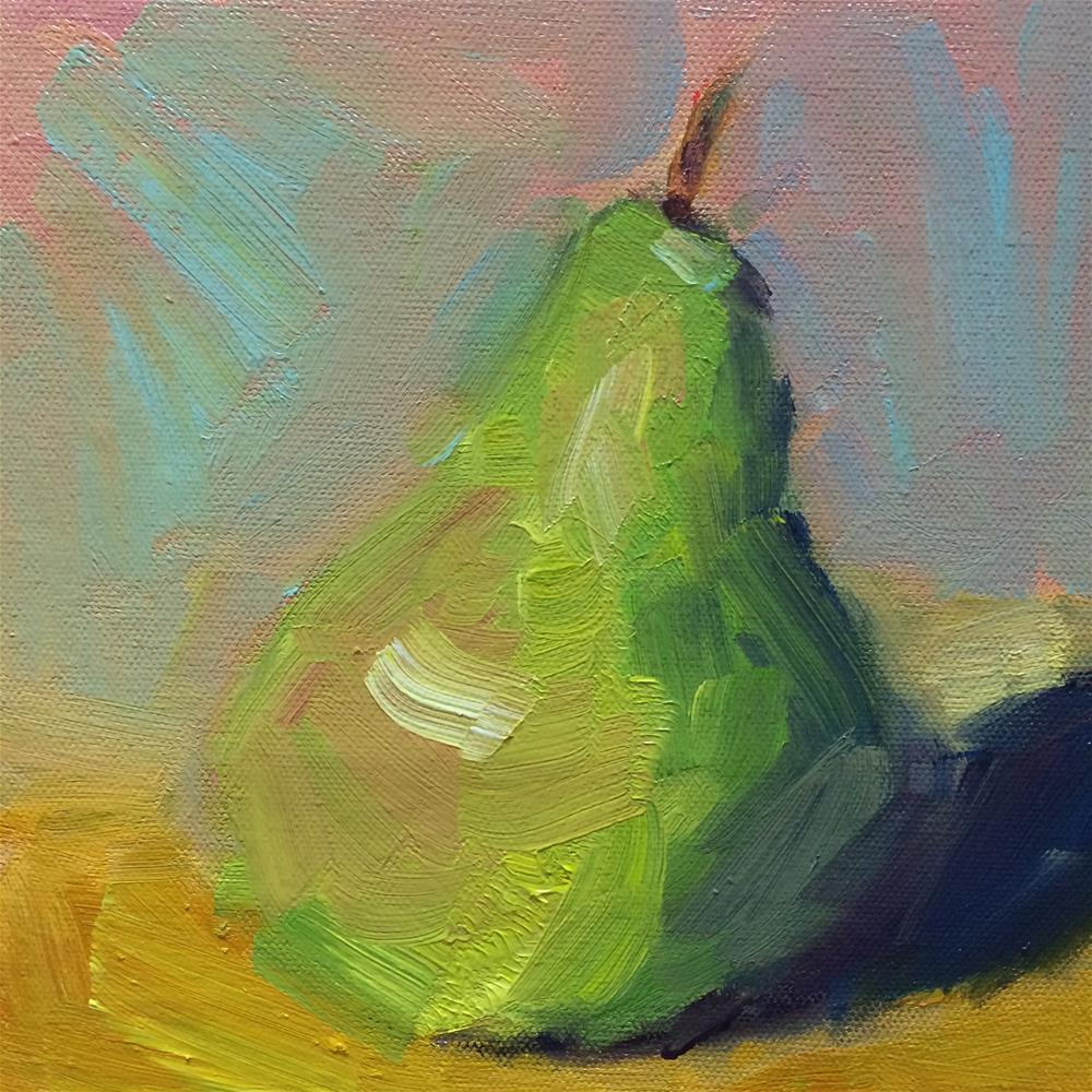 """Green pear"" original fine art by Naomi Bautista"