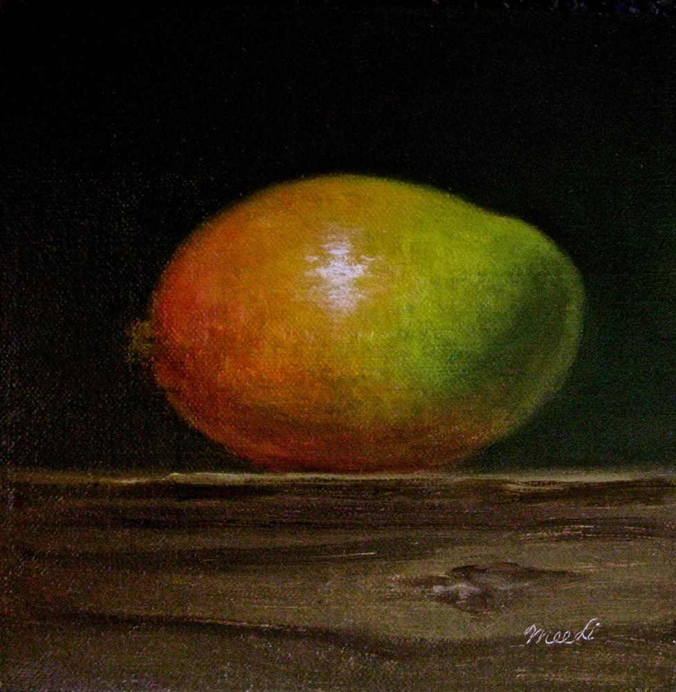 """Mango On Wood Block I"" original fine art by MeeLi Lee"