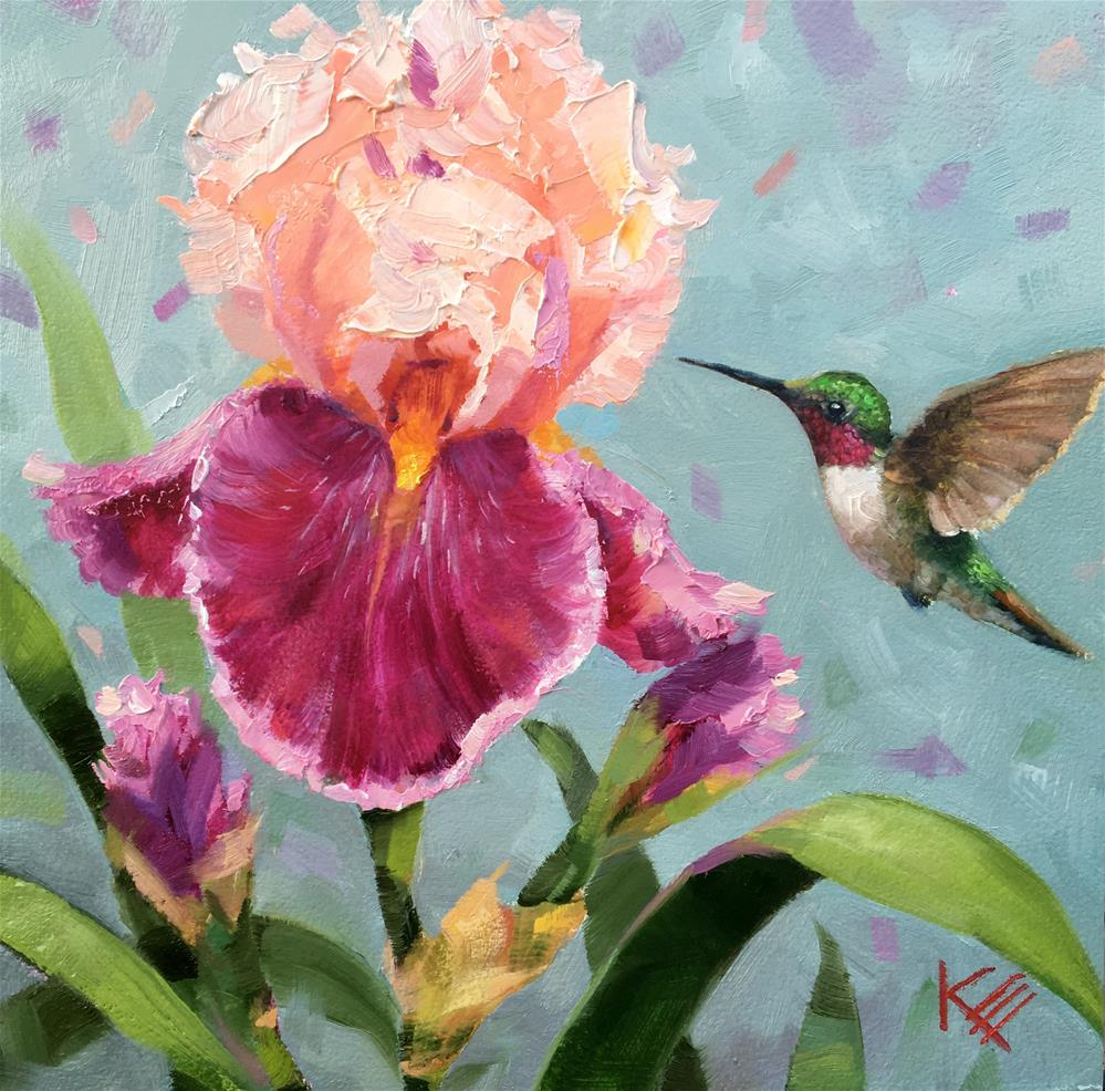 """Hummingbird & Irises"" original fine art by Krista Eaton"