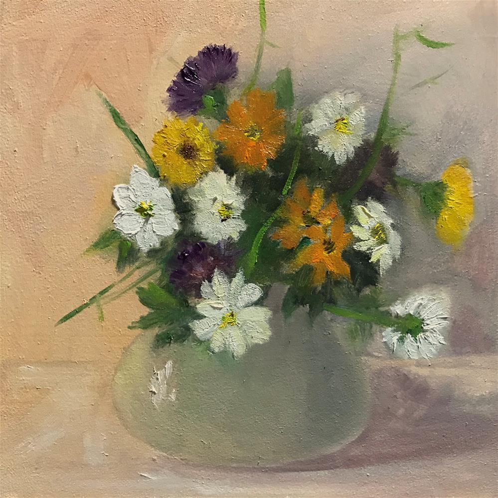 """a small bowel of flowers"" original fine art by Betty Argiros"