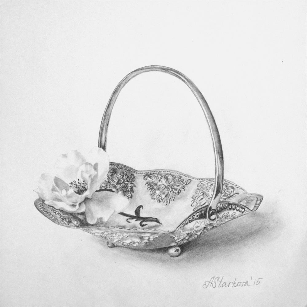 """""""A rose in a candy basket"""" original fine art by Anna Starkova"""