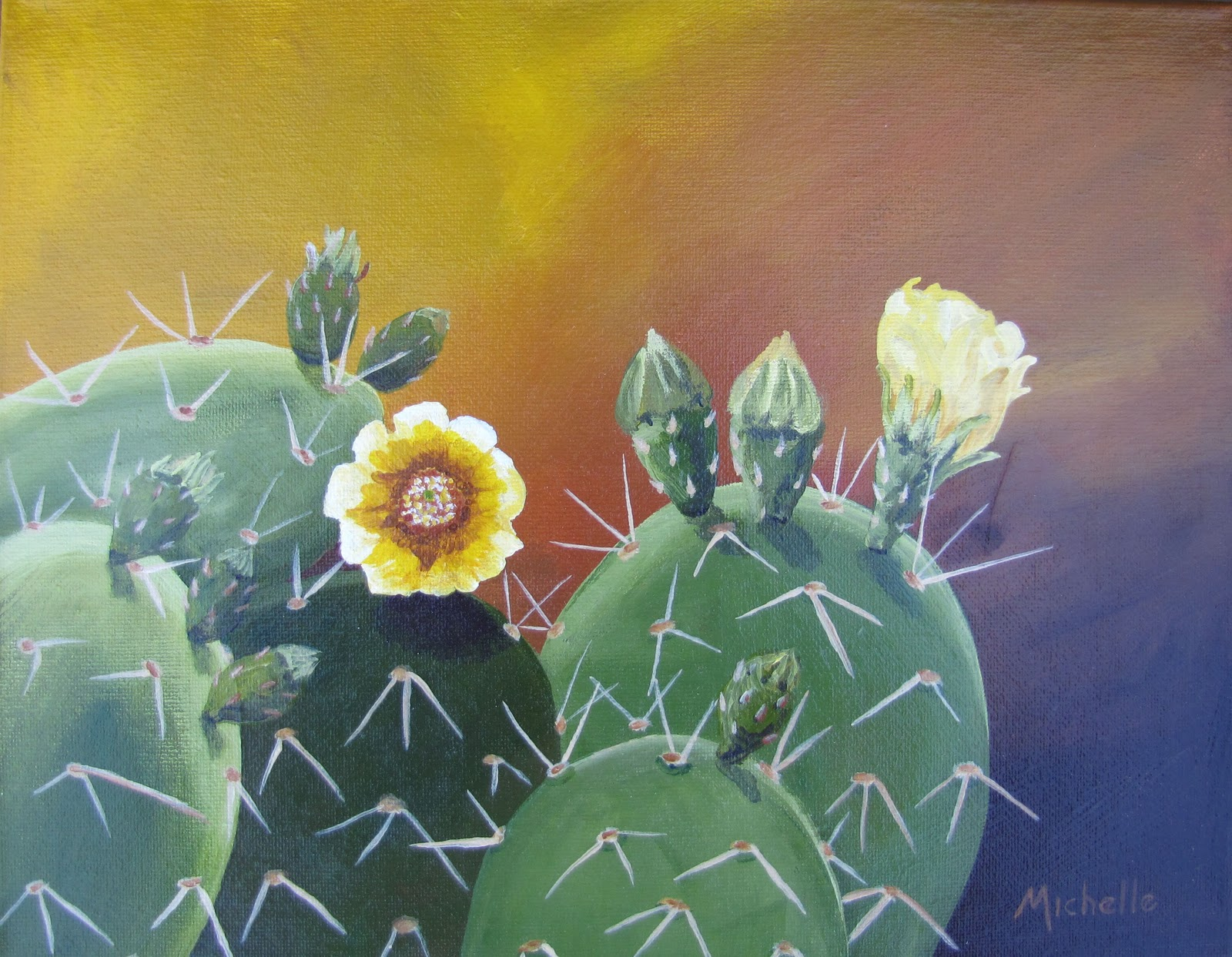 """""""Prickly Pear Cactus with Blossoms 1"""" original fine art by Michelle Wolfe"""