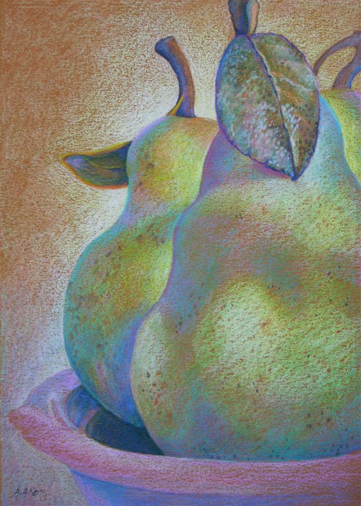 """""""Almost Ripe Pears Colored Pencil Drawing"""" original fine art by Alida Akers"""