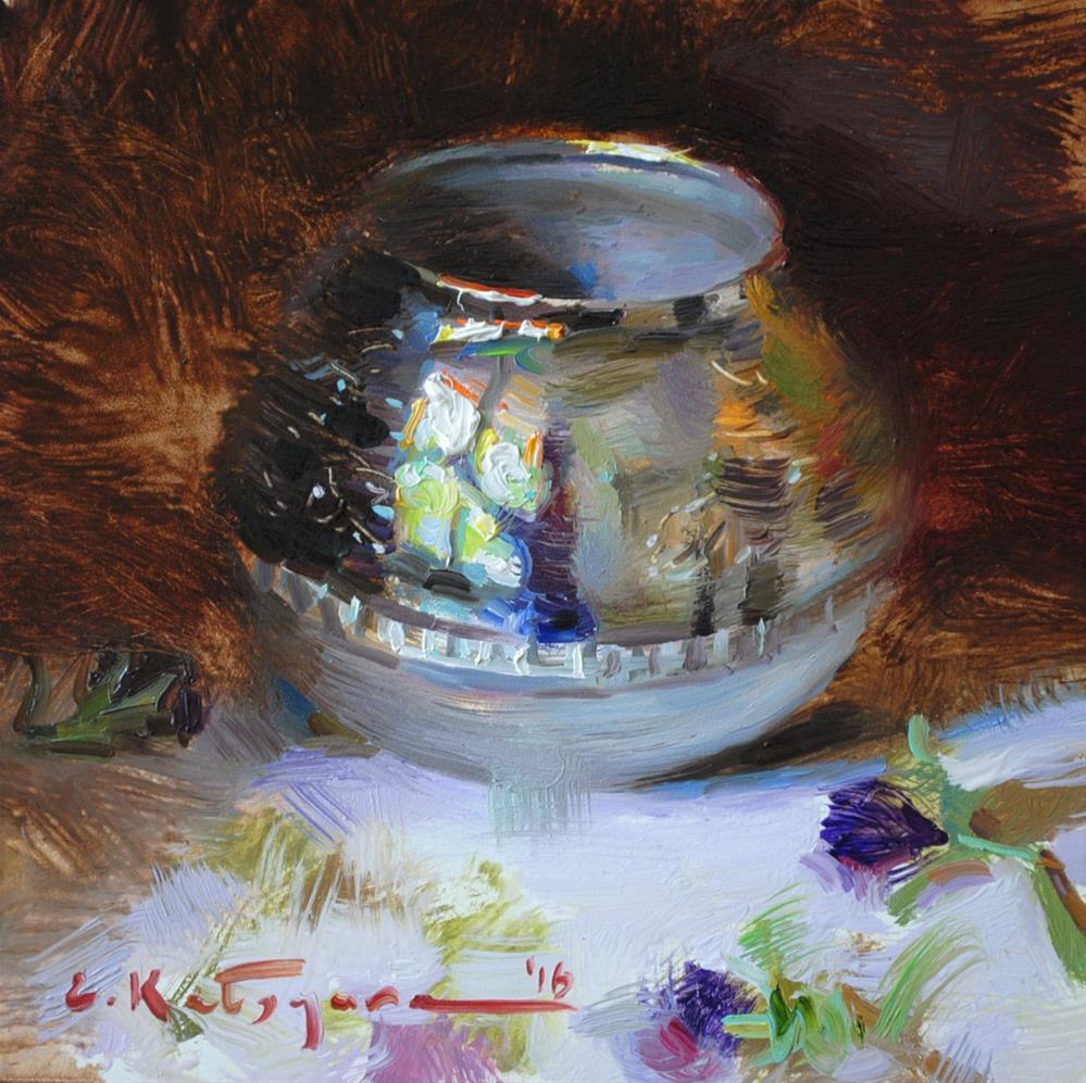 """Silver Sugar Bowl"" original fine art by Elena Katsyura"