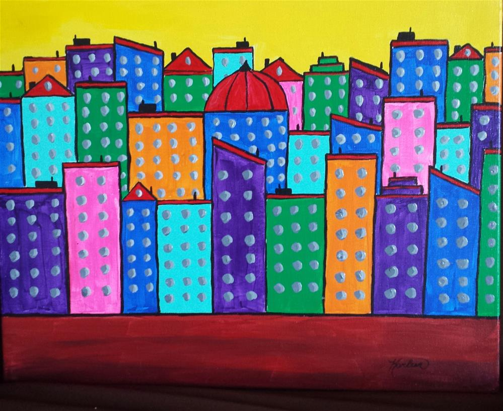 """""""Contemporary Painting, Your Town"""" original fine art by Karleen Kareem"""