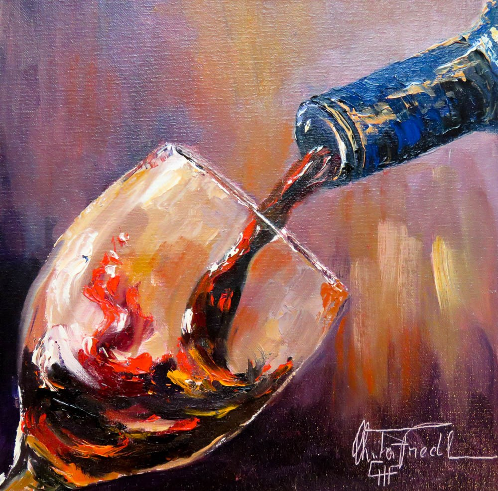 """Wine Tasting II"" original fine art by Christa Friedl"