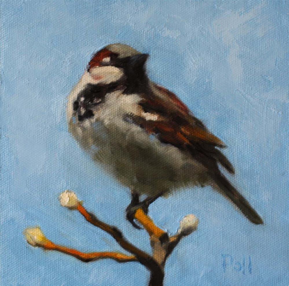 """House Sparrow"" original fine art by Pamela Poll"