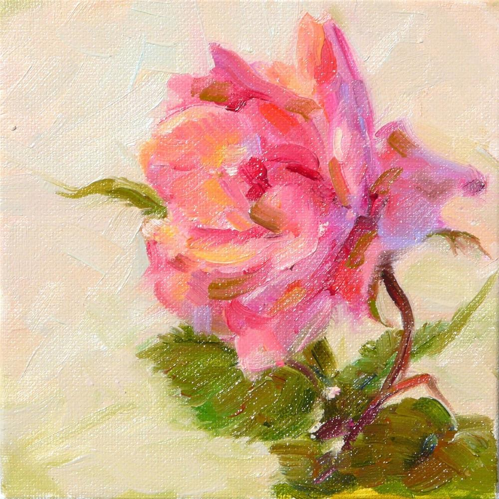 """Single Rose,still life,oil on canvas,6x6,price$200"" original fine art by Joy Olney"