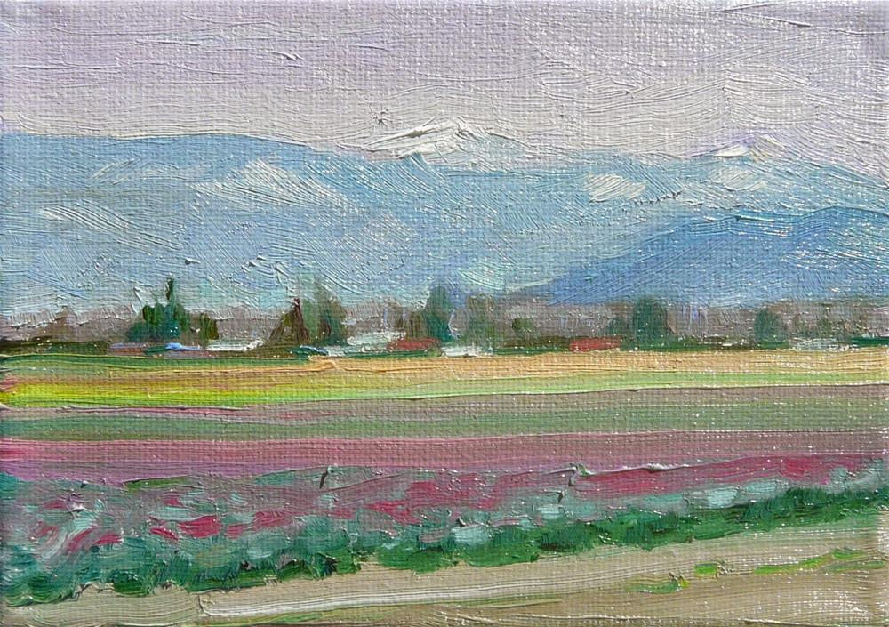 """Spring Fields,landscape,oil on canvas,5x7,price$200"" original fine art by Joy Olney"
