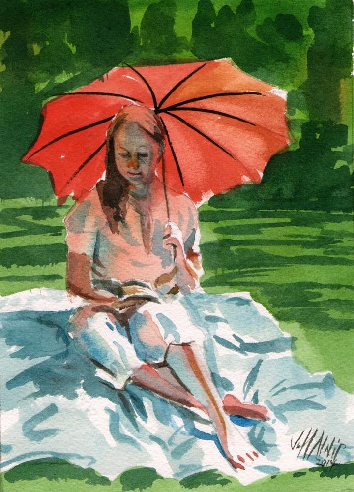 """Umbrella Girl"" original fine art by Jeff Atnip"